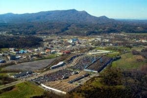 Bird's-eye view of the Parkway in Pigeon Forge TN.