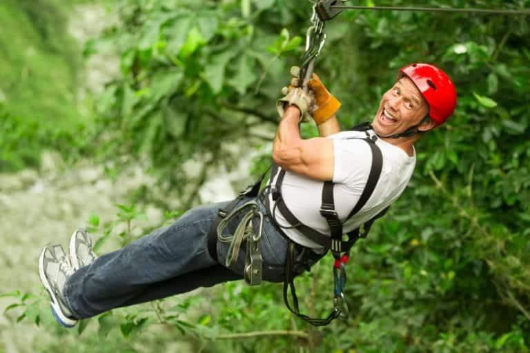 happy man ziplining