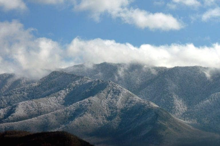Winter in the mountains near our Pigeon Forge TN hotel.