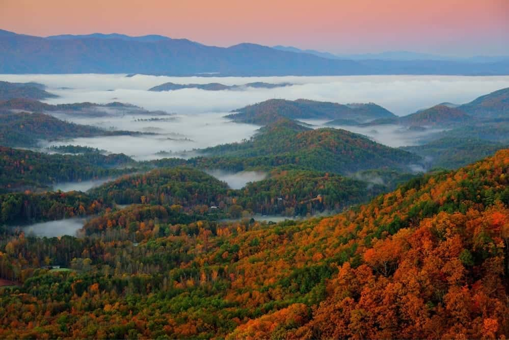 Stunning fall colors in the mountains near Pigeon Forge.
