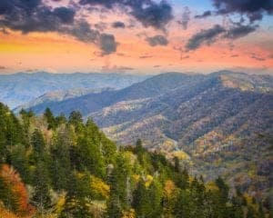 Beautiful fall colors in the Smoky Mountains near Pigeon Forge.