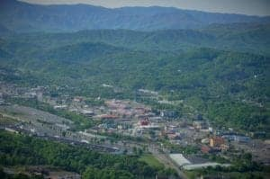 Breathtaking aerial view of the Parkway in Pigeon Forge.